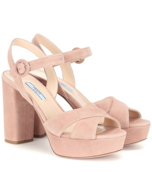Prada Suede plateau sandals in pink