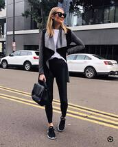 jacket,black sneakers,black leggings,black bag,white t-shirt,black sunglasses,streetstyle