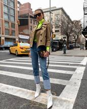jacket,double breasted,white boots,ankle boots,straight jeans,high waisted jeans,handbag,turtleneck,neon