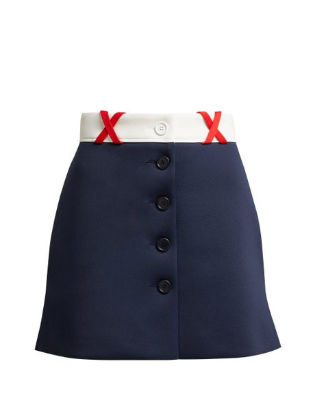Miu Miu - Jersey Mini Skirt - Womens - Navy Multi