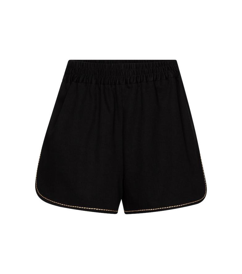 Fendi High-rise denim shorts in black