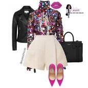 blouse,pink top,glitter,sequins,rainbow sequins top,black top,long sleeve bodysuit