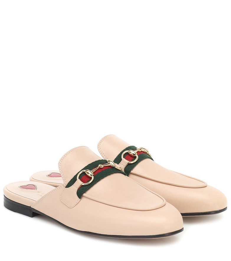 Gucci Princetown leather slippers in pink
