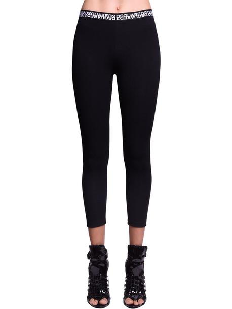 DSQUARED2 Double Logo Cotton Jersey Leggings in black