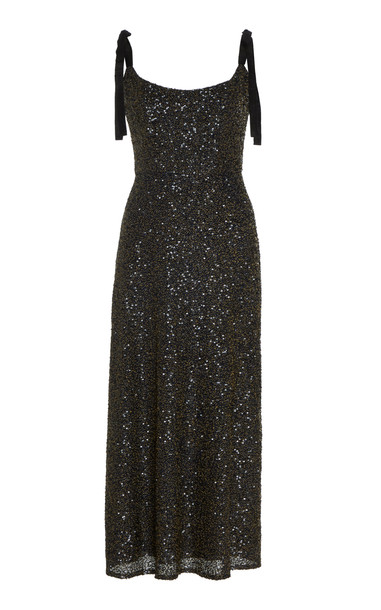 Markarian Veronica Sequin-Embellished Silk Midi Dress in black