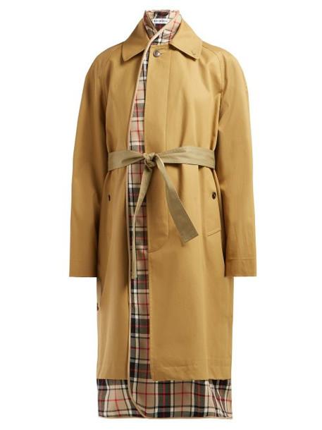 Balenciaga - Check Lined Cotton Twill Trench Coat - Womens - Beige Multi