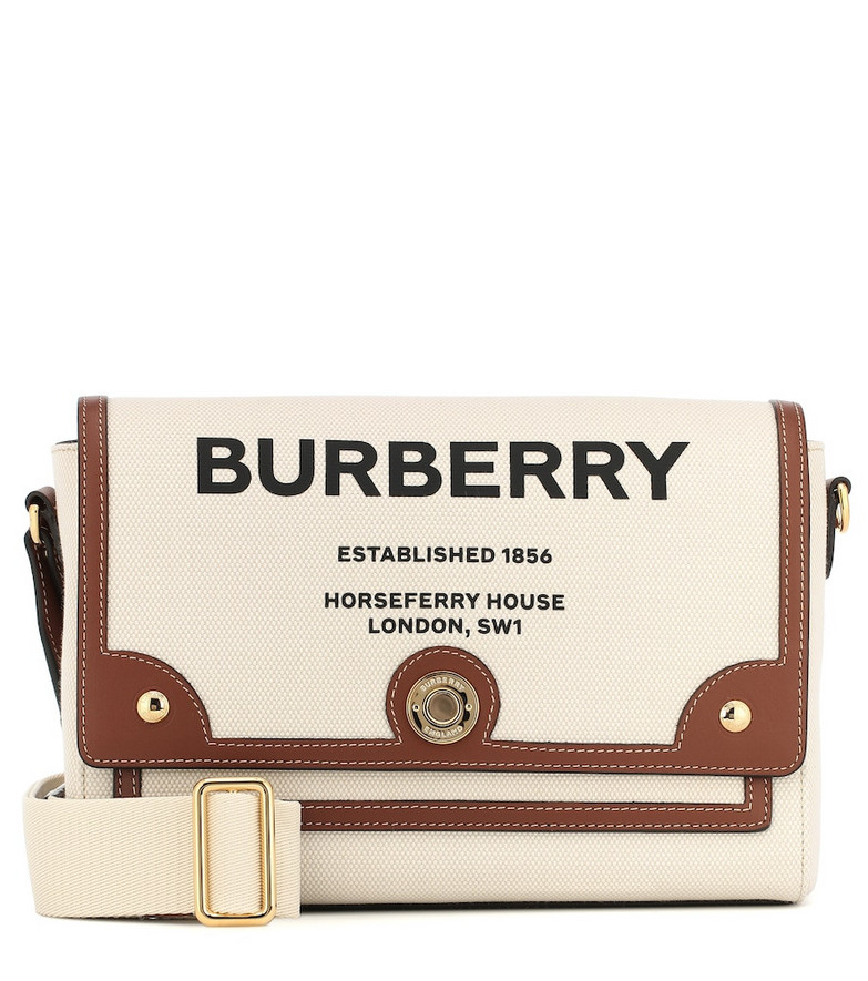 Burberry Note leather-trimmed canvas shoulder bag in neutrals