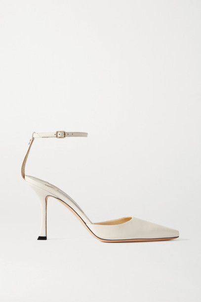 Jimmy Choo - Mair 90 Leather Pumps - Off-white