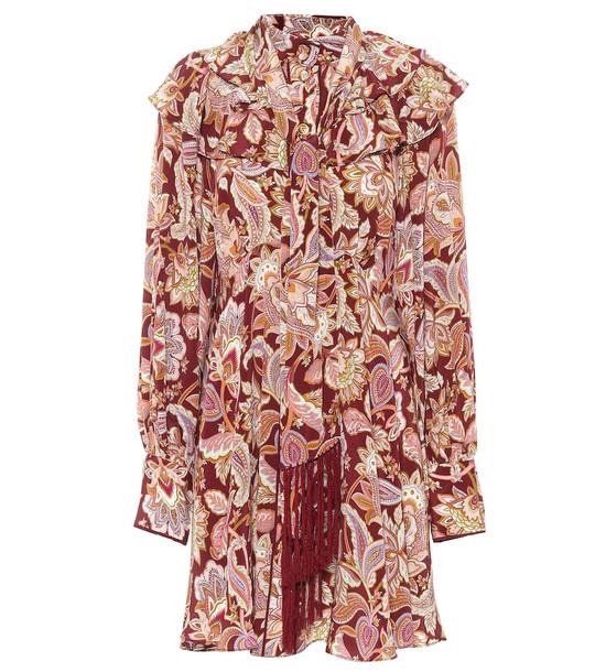 Zimmermann Charm Fringe silk crêpe de chine minidress in red