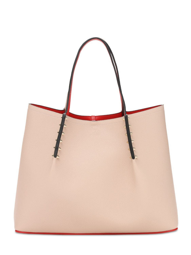 CHRISTIAN LOUBOUTIN Cabarock Small Grained Leather Tote in rose