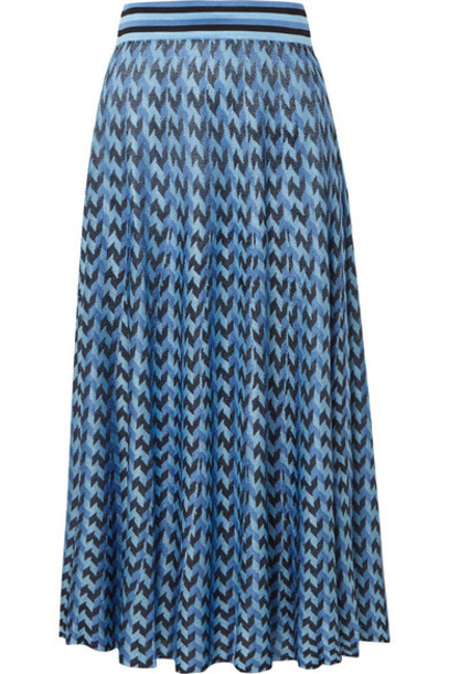 RIXO - Brandy Houndstooth Knitted Midi Skirt - Blue