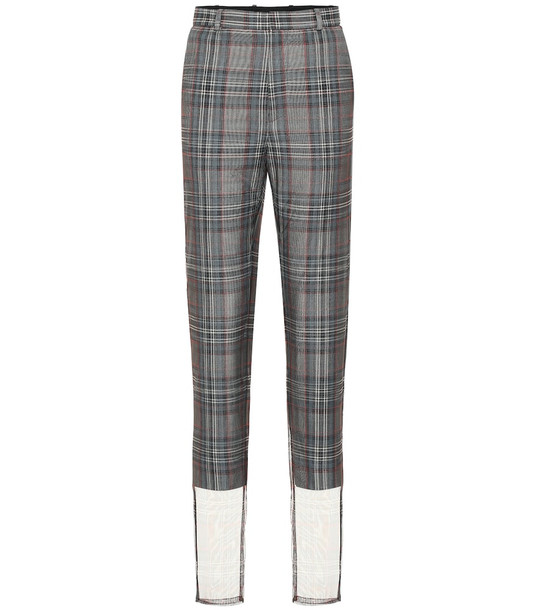 Y/PROJECT Checked wool-blend high-rise pants in grey