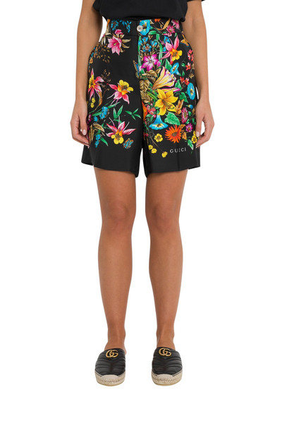 Gucci Floral Pattern Shorts In Silk in nero