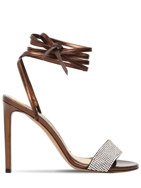 ALEXANDRE VAUTHIER 100mm Kim Leather Sandals W/ Crystals