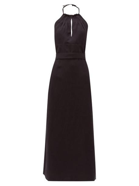 Raey - Split Front Halterneck Slubby Silk Blend Dress - Womens - Navy