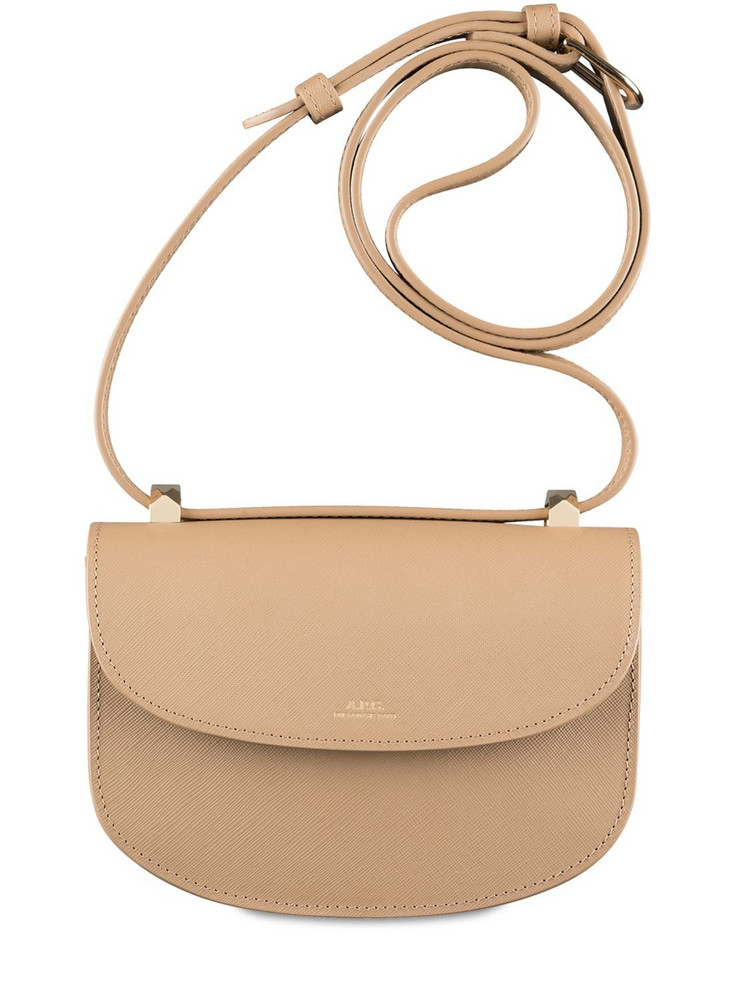 A.P.C. Mini Genève Grained Leather Bag in sand