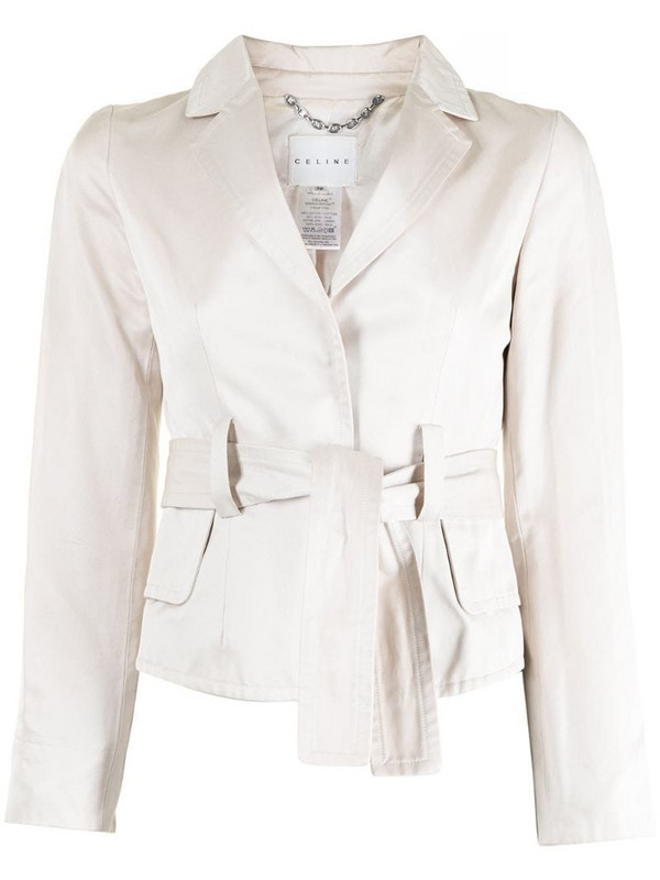 Céline Pre-Owned pre-owned belted single-breasted blazer in neutrals