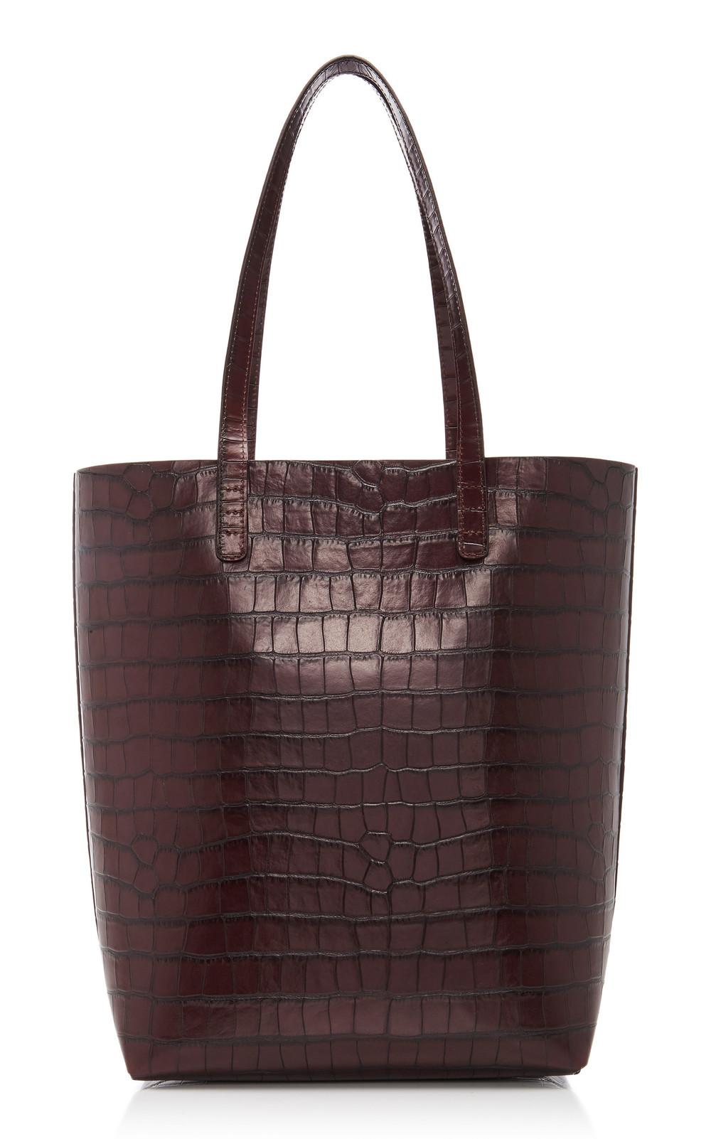 Mansur Gavriel Everyday Croc-Embossed Leather Tote Bag in black