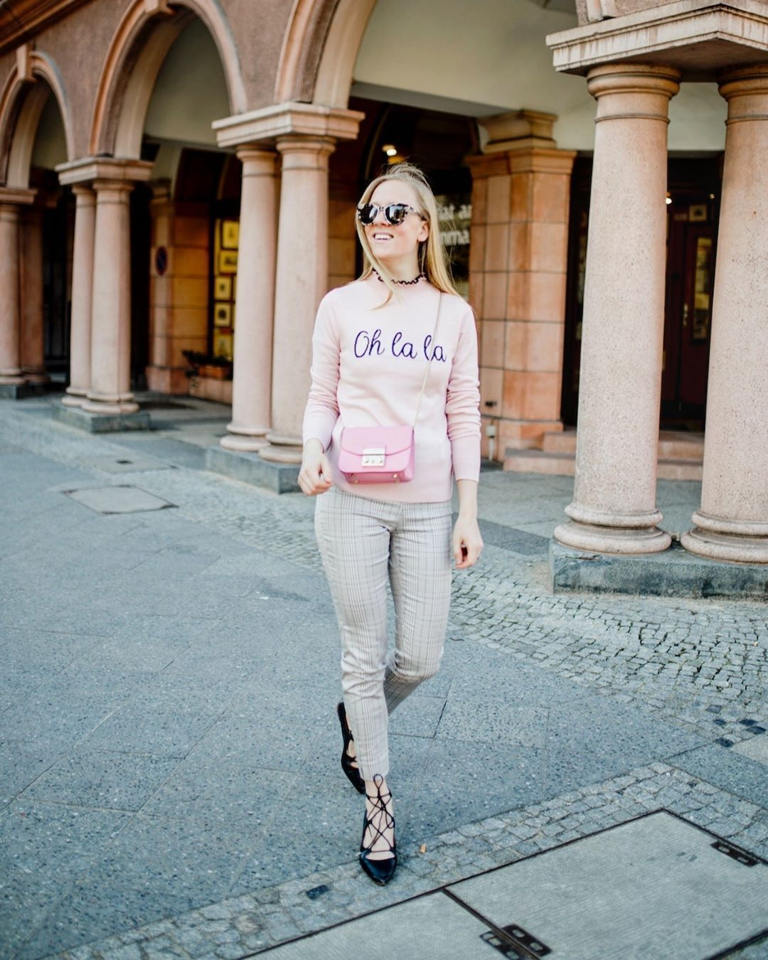 sweater pink sweater river island lace up heels pumps plaid skinny pants pink bag