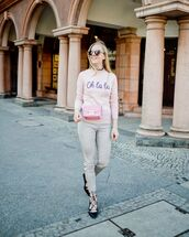 sweater,pink sweater,river island,lace up heels,pumps,plaid,skinny pants,pink bag
