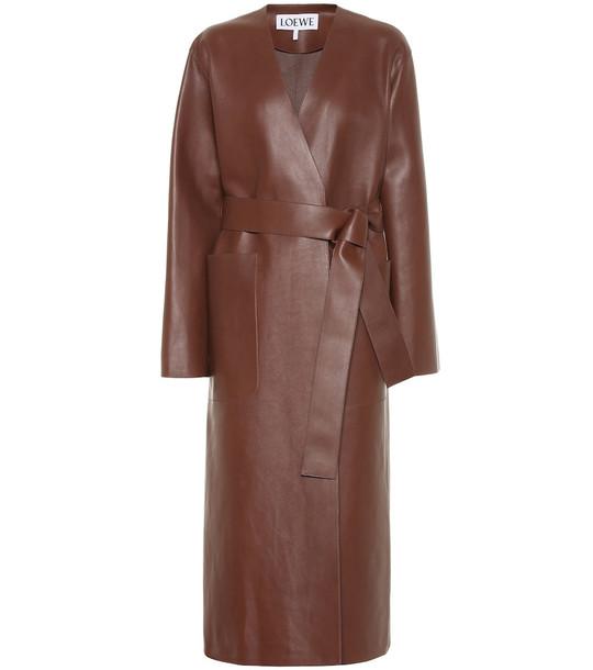 Loewe Leather coat in brown