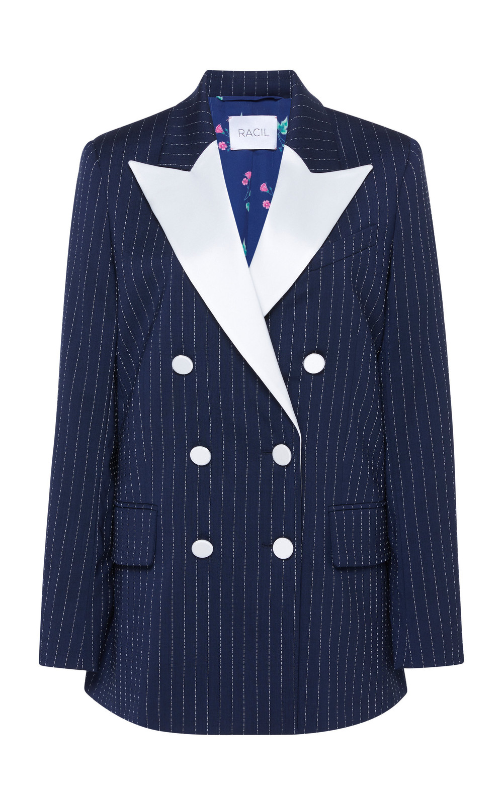 Racil Casablanca Double Breasted Wool Blazer in navy