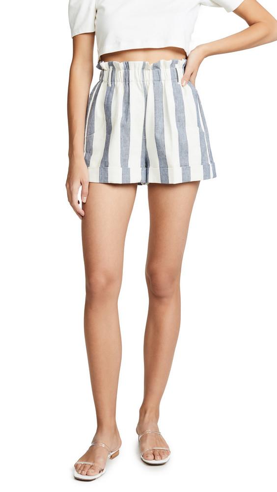 NUDE Striped Shorts in denim / white / denim