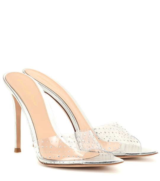 Gianvito Rossi Exclusive to Mytheresa – Elle 105 embellished leather mules in silver