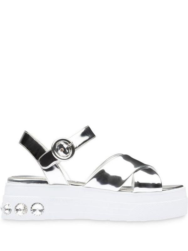 Miu Miu crystal-embellished platform sandals in silver