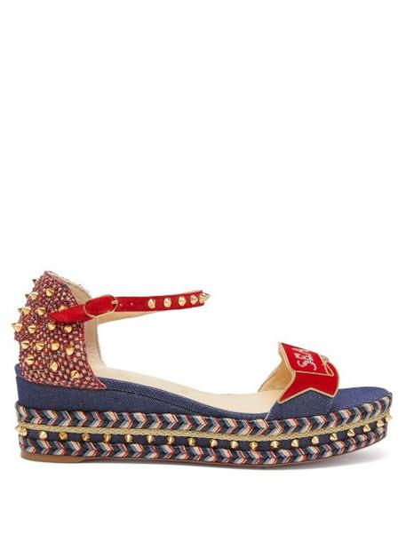 Christian Louboutin - S Padrilla Denim Flatform Espadrille Sandals - Womens - Denim