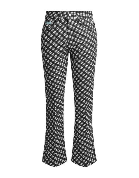 Alexa Chung High-rise Plaid Crop Flared Jeans Black White