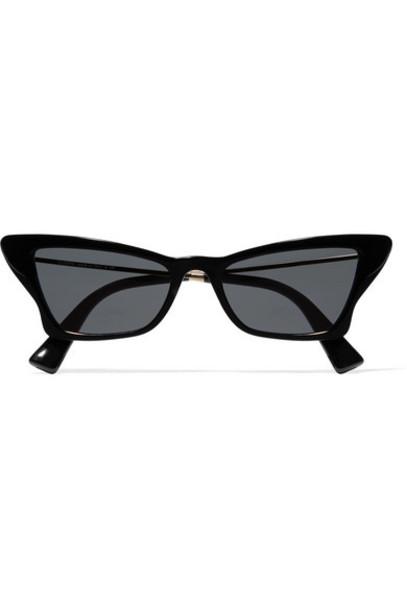 Valentino - Valentino Garavani Cat-eye Acetate And Gold-tone Sunglasses - Black