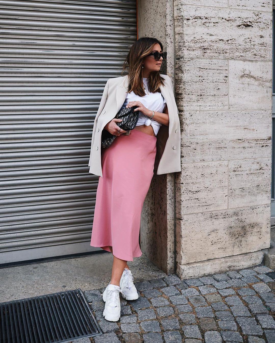 61dc9de8848 skirt, pink skirt, satin, zara, white sneakers, blazer, double ...