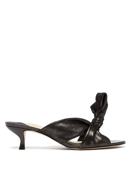 Sophia Webster - Bonnie Shimmering Suede Knotted Mules - Womens - Black