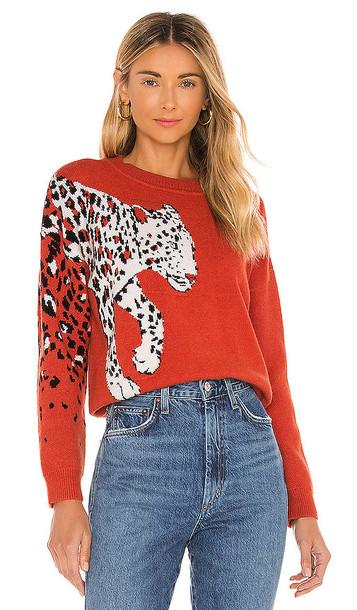 MINKPINK Feline Knit Sweater in Burnt Orange in multi