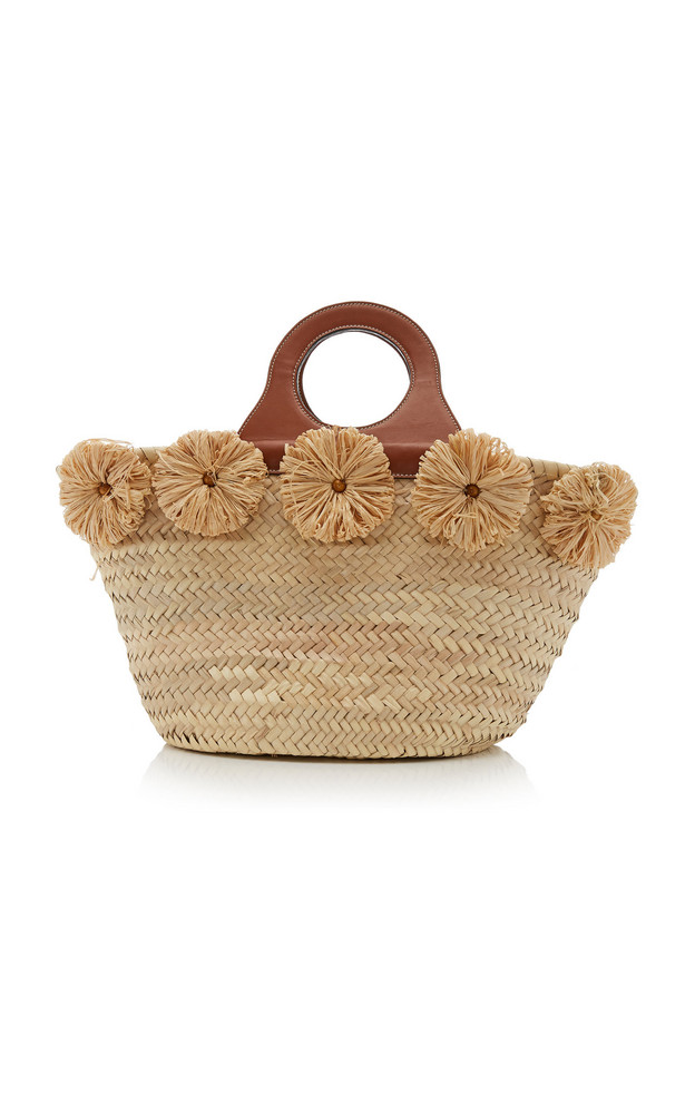 Poolside Ischia Raffia-Trimmed Straw Tote in brown