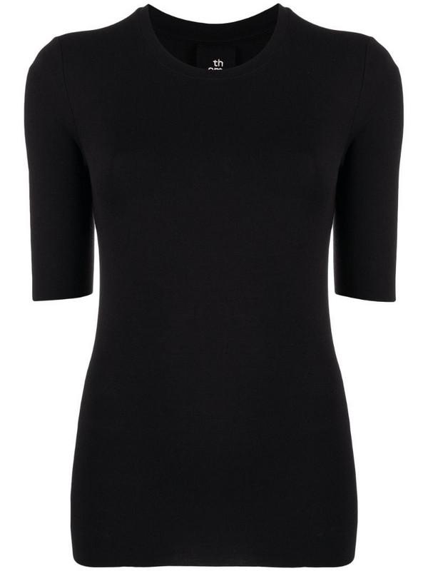 Thom Krom round neck stretch jersey top in black