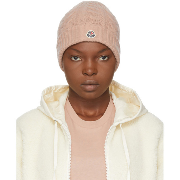 Moncler Pink Cashmere Logo Beanie in blush