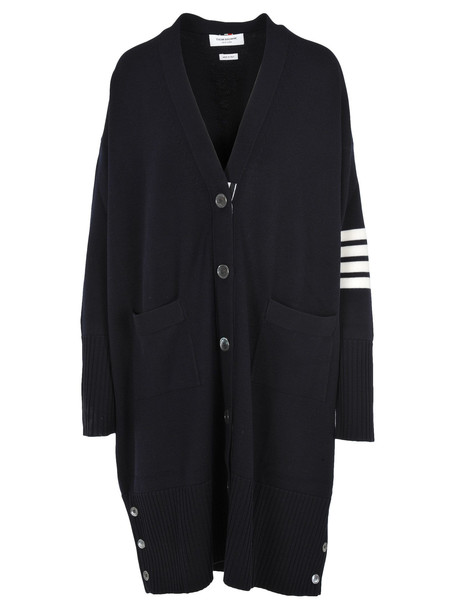 Thom Browne 4-bar Exaggerated V-neck Cardigan in navy