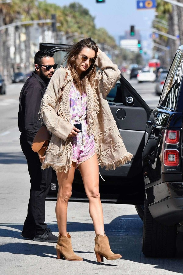 sweater cardigan shorts romper alessandra ambrosio model off-duty ankle boots boots