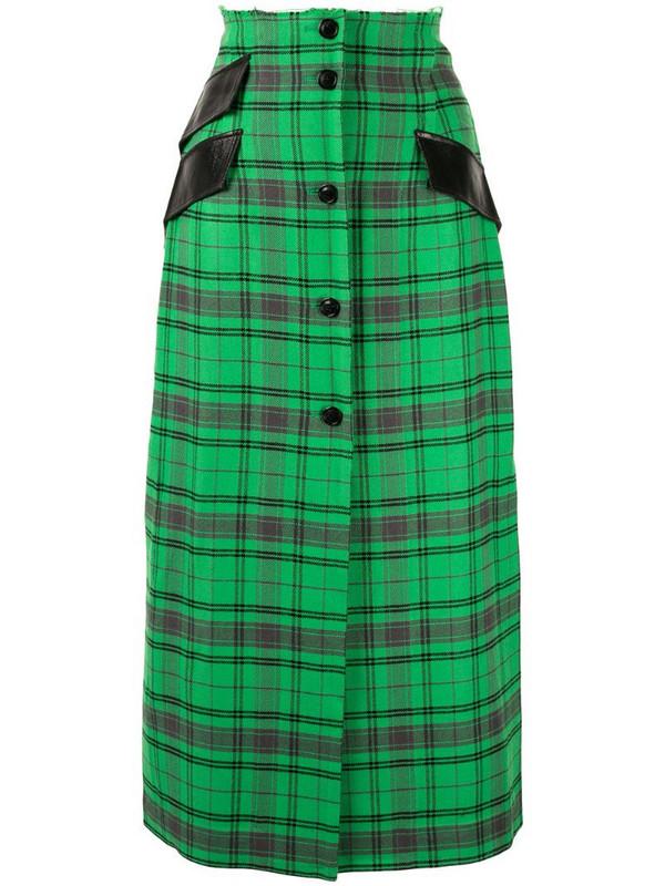 Yang Li plaid midi skirt in green