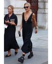 shoes,black sandals,platform sandals,socks,black dress,maxi dress