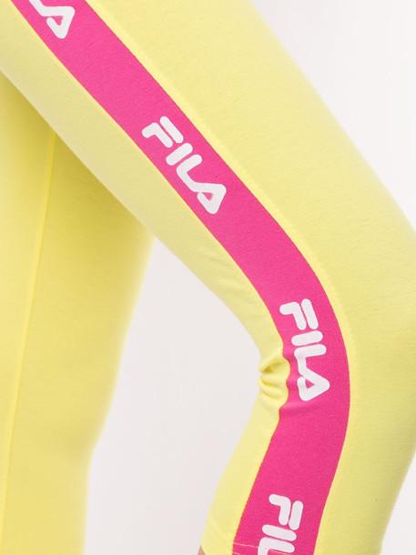 Fila cropped logo-stripe leggings in yellow
