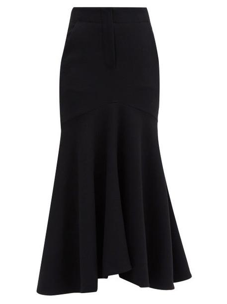 Petar Petrov - Ros Fluted-hem Wool Midi Skirt - Womens - Black
