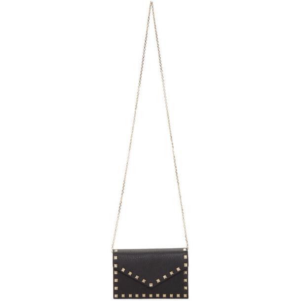 Valentino Black Valentino Garavani Rockstud Wallet Chain Bag