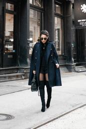wendy's,lookbook,blogger,coat,jacket,sweater,shorts,bag,shoes,tights,sunglasses,cape,thigh high boots,over the knee boots