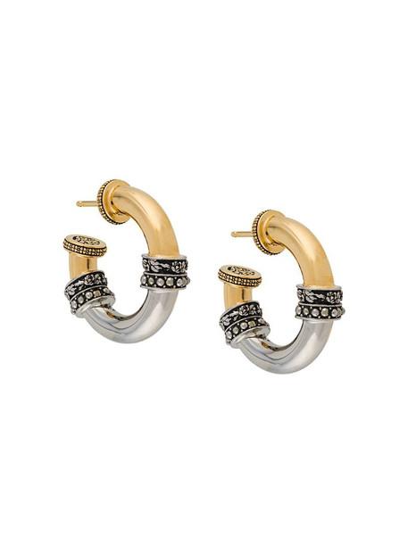 Alexander McQueen bi-colour hoop earrings in gold