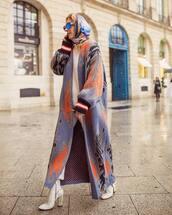 coat,long coat,blue coat,knit,white boots,heel boots,white pants,white sweater,scarf,sunglasses