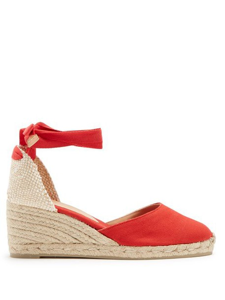 Castañer - Carina 60 Canvas & Jute Espadrille Wedges - Womens - Red