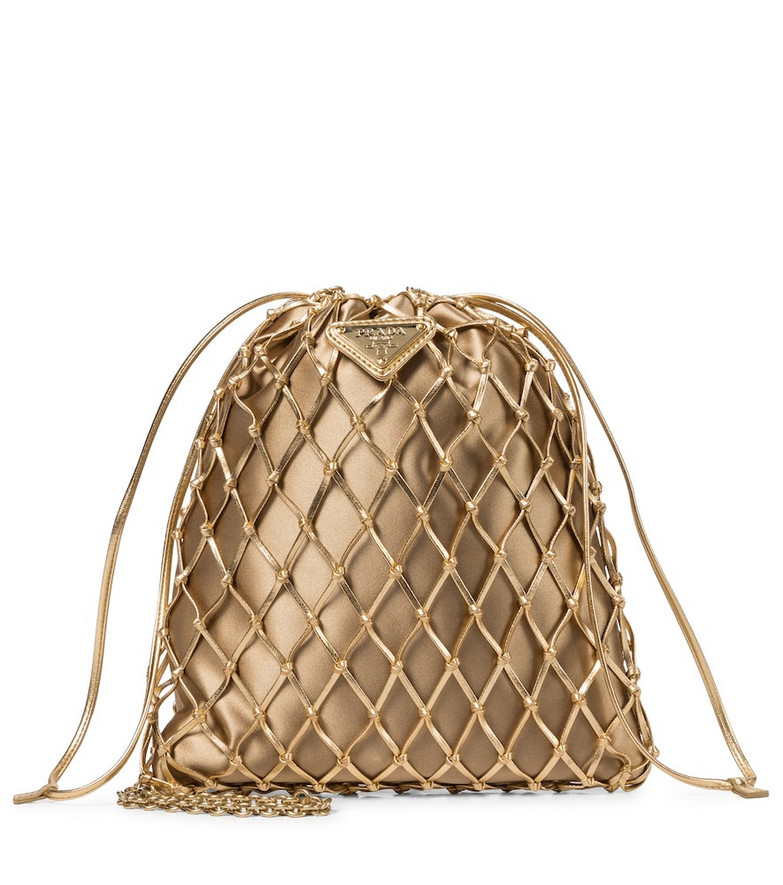 Prada Leather mesh and satin clutch in gold